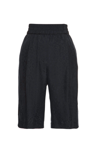 Medium thakoon addition black leopard jacquard track shorts