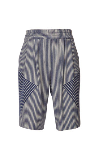 Medium thakoon addition ivory striped sweatshirt knee length track shorts