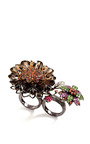 One Of A Kind 18 K Gold Multi Jeweled Double Finger Flower Ring by BOCHIC Now Available on Moda Operandi