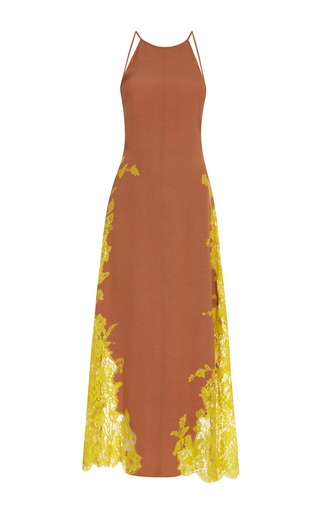 Medium wes gordon yellow halter dress with vine lace insets 2