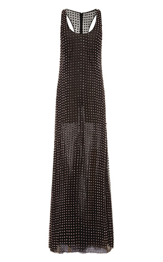 Medium wes gordon black gown with cubic grid emroidery