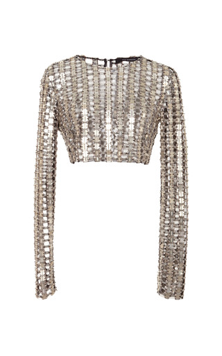 Medium wes gordon metallic long sleeved crop top