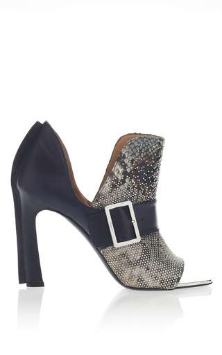 Medium salvatore ferragamo blue studded oxford blue python booties