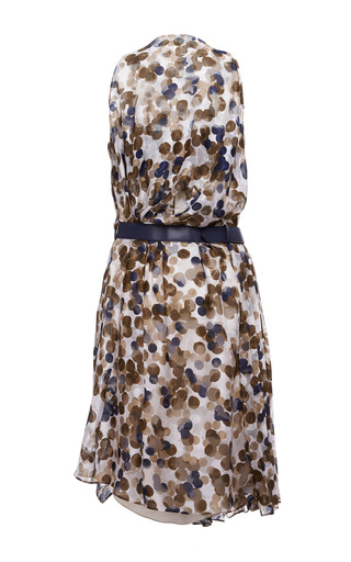 Dotted Fil Coupe Gathered Dress by SALVATORE FERRAGAMO for Preorder on Moda Operandi