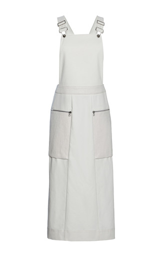 Medium whistles white mixed fabric dungaree dress