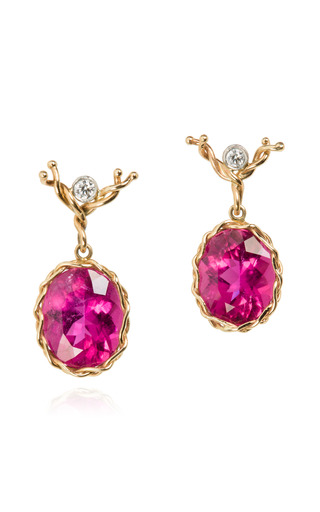 Medium dean harris multi handmade 18k gold red tourmaline and diamond oval drop earrings