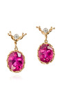 Handmade 18 K Gold Red Tourmaline And Diamond Oval Drop Earrings by DEAN HARRIS Now Available on Moda Operandi