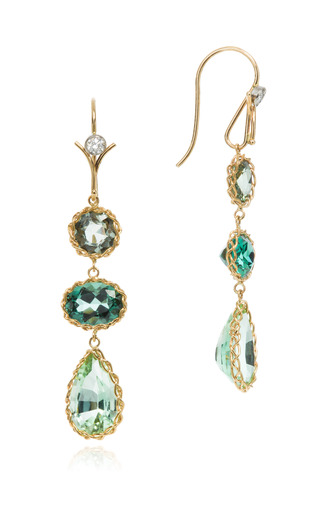 Handmade 18 K Gold Green Sapphire Tourmaline And Diamond Earrings by DEAN HARRIS Now Available on Moda Operandi