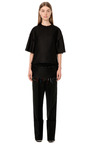 Black Matte Viscose Twill Wide Cuff Painters Pant by CALVIN KLEIN COLLECTION for Preorder on Moda Operandi
