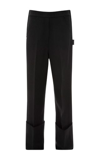 Medium calvin klein collection black black silk twill crepe wide cuff painters pant