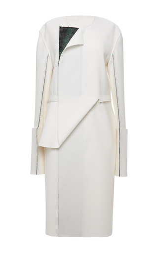 White And Emerald Striped Tweed Graphic Front Wrap Coat by CALVIN KLEIN COLLECTION for Preorder on Moda Operandi