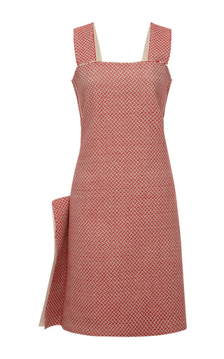 Medium calvin klein collection red red hand woven japanese cotton tweed sleeveless dress