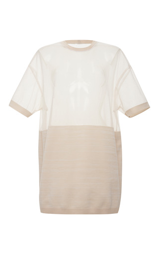 Medium calvin klein collection sand silk intarsia sheer nylon oversized t shirt