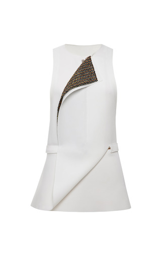 Medium calvin klein collection ivory white double faced jersey and cadmium striped tweed wrap vest