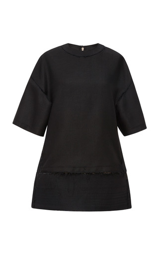 Medium calvin klein collection black black matte silk and viscose threaded split waist t shirt
