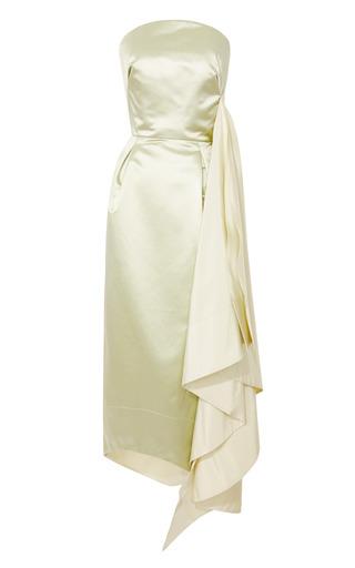 Medium rosie assoulin green celery duchess satin side drape dress
