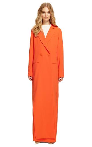 Orange Blended Crepe Suting Full Length Coat by ROSIE ASSOULIN for Preorder on Moda Operandi