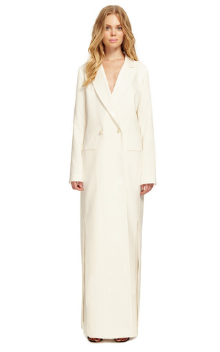 White Silk Twill Full Length Coat by ROSIE ASSOULIN for Preorder on Moda Operandi
