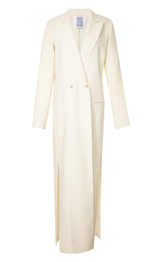 Medium rosie assoulin white white silk twill full length coat