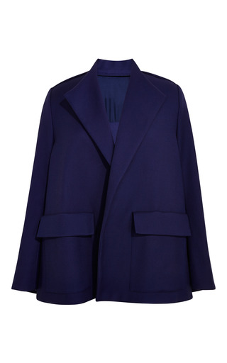 Medium rosie assoulin blue luxe twill suiting swing coat