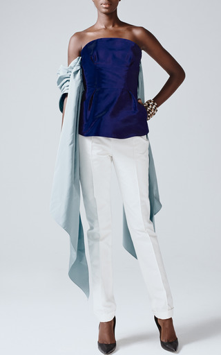 White Cuffed Cigarette Pants by ROSIE ASSOULIN for Preorder on Moda Operandi