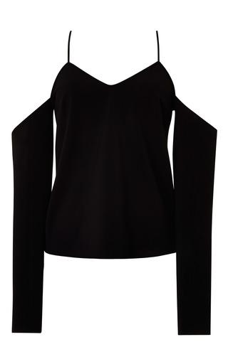 Medium rosie assoulin black stretch crepe long sleeve tank top