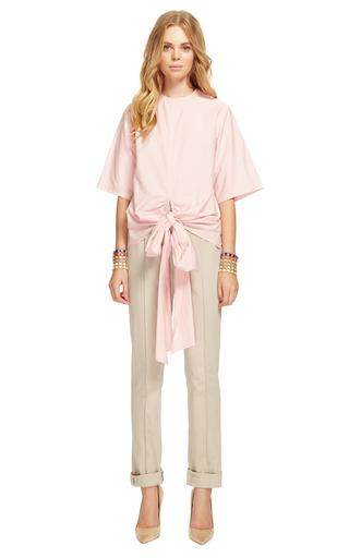 Fine Cotton Poplin Tie Front T Shirt by ROSIE ASSOULIN for Preorder on Moda Operandi