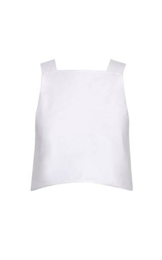 Medium rosie assoulin white light cotton poplin shoulder crop top