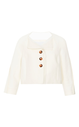 Medium carolina herrera ivory cropped jacket with organza paneling