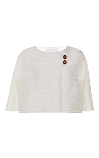 Medium carolina herrera white boxy cropped jacket