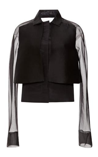 Medium carolina herrera black layered tuxedo jacket