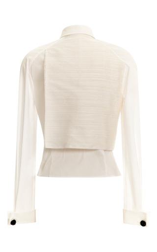Front Overlap Button Down Raglan Sleeve Blouse by CAROLINA HERRERA for Preorder on Moda Operandi