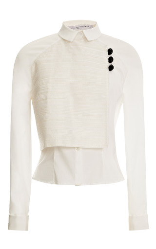 Medium carolina herrera white front overlap button down raglan sleeve blouse