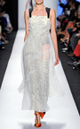 Stylized Strap Swirl Dress With Organza Overlay Dress by CAROLINA HERRERA for Preorder on Moda Operandi