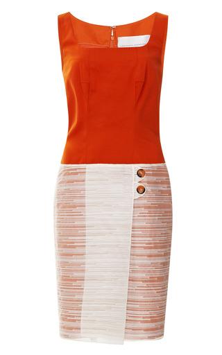 Medium carolina herrera white sleeveless dress with cotton and novelty organza