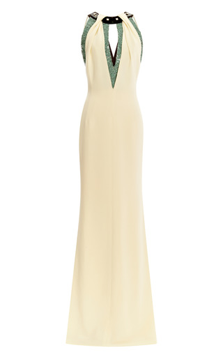 Medium carolina herrera white halter top gown with sequined embroidery at neckline