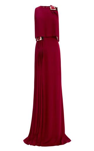 Medium carolina herrera purple gown with pleating detail