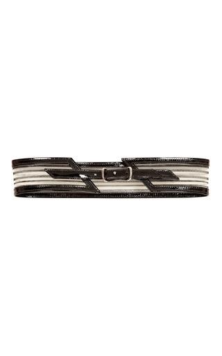 Medium carolina herrera black leather skinny belt with zig zag connection 2