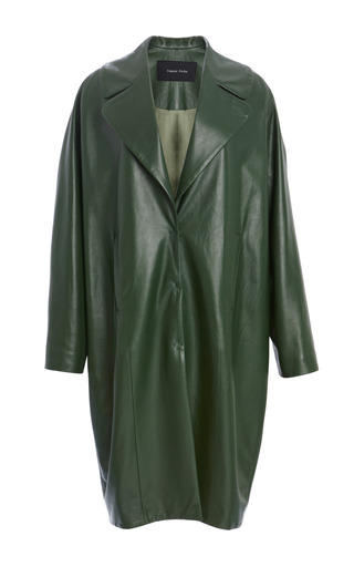 Medium simone rocha olive green leather coat