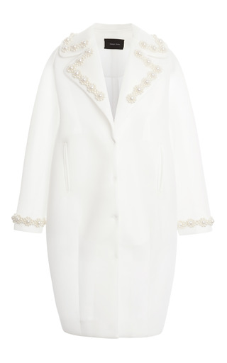 Medium simone rocha white ivory pearl embellished neoprene coat