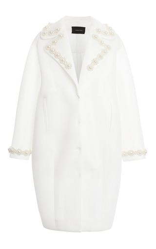 Medium simone rocha white ivory pearl embellished neoprene coat
