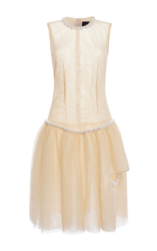 Medium simone rocha nude nude tulle pearl embellished drop waist dress