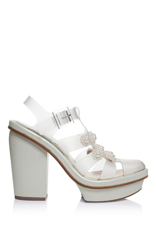Medium simone rocha clear jelly daisy pearl high heel sandals