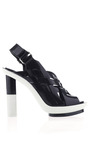 Black And White Woven Runway Shoe by CALVIN KLEIN COLLECTION for Preorder on Moda Operandi