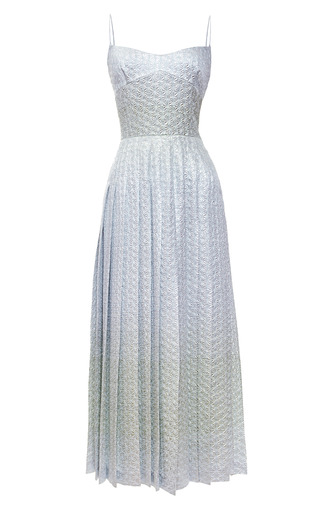 Medium rochas blue degrade jacquard silk dress