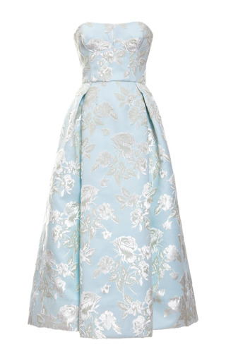 Medium rochas blue bonded duchesse big flowers strapless dress
