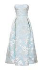 Bonded Duchesse Big Flowers Strapless Dress by ROCHAS for Preorder on Moda Operandi