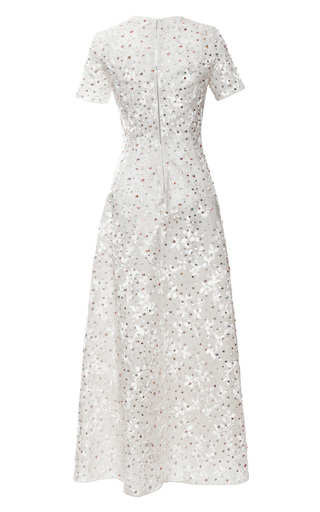 Embroidered Bonded Velvet Tulle Little Flowers Dress by ROCHAS for Preorder on Moda Operandi