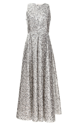 Medium rochas silver embroidered lurex jacquard flowers dress