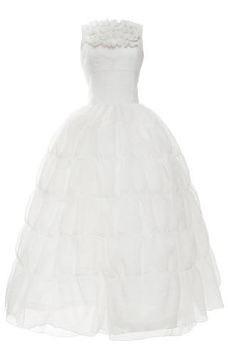 Medium rochas white matte jacquard cloque tiered skirt dress